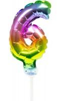 Regenbogen Tortendeko Ballon Zahl 6