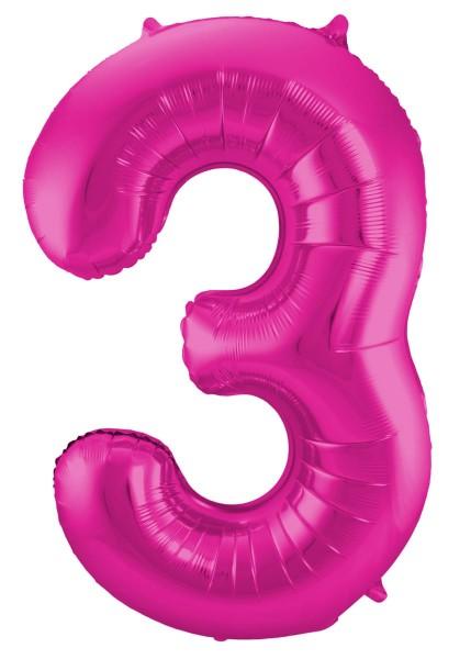 Folienballon Nummer 3 pink