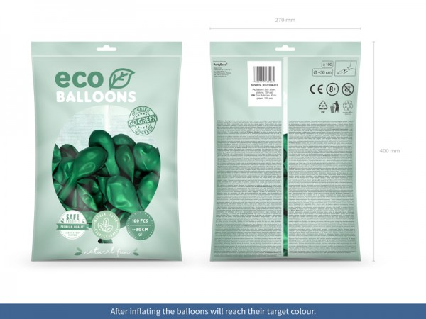 100 Eco metallic balloons emerald green 30cm