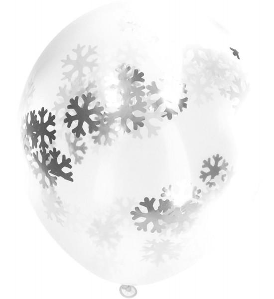 4 Ballons mit Schneeflocken Konfetti 30cm
