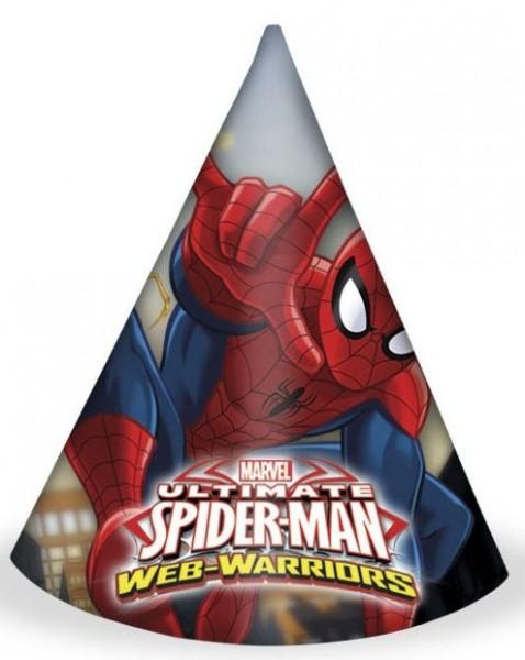6 Spiderman Web Warriors Partyhütchen 16cm