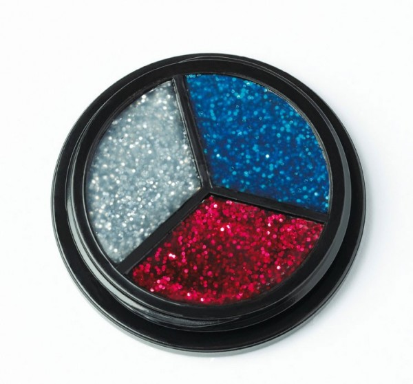Glitzer Make-Up Silber-Rot-Blau