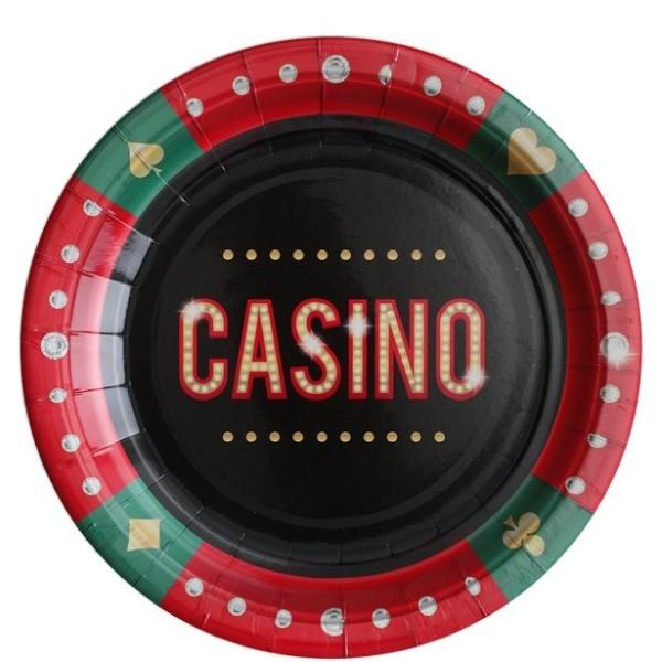 10 assiettes de fête casino 22,5 cm