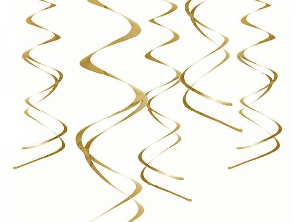 5 metalowych zawieszek spiralnych w kolorze złotym 60cm