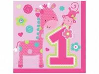 16 Servietten 1. Geburtstag Pink Animals