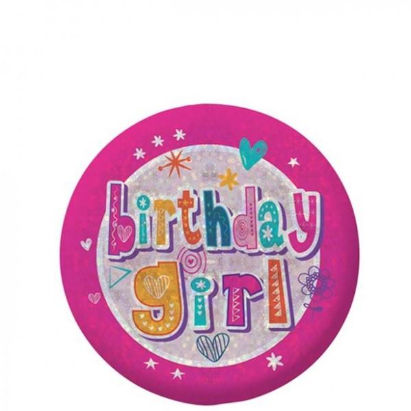 Birthday Girl Button holographisch 5,5cm