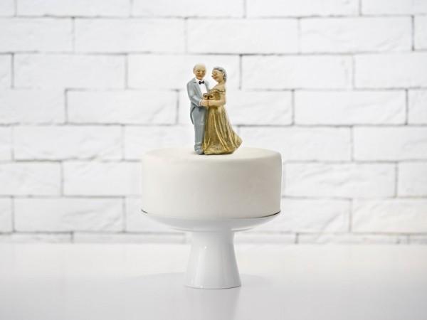 Décoration de gâteau mariage doré 12cm