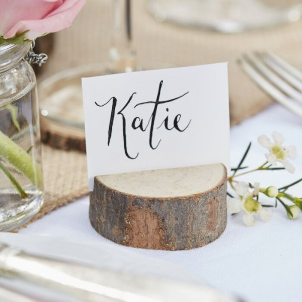 5 Country Love Wedding Wood Place Card Holders