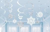 12 Schneeflocken Sturm Spiralhänger