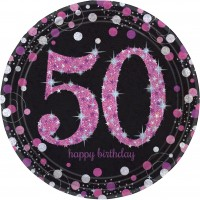 8 Pink 50th Birthday Pappteller 23cm