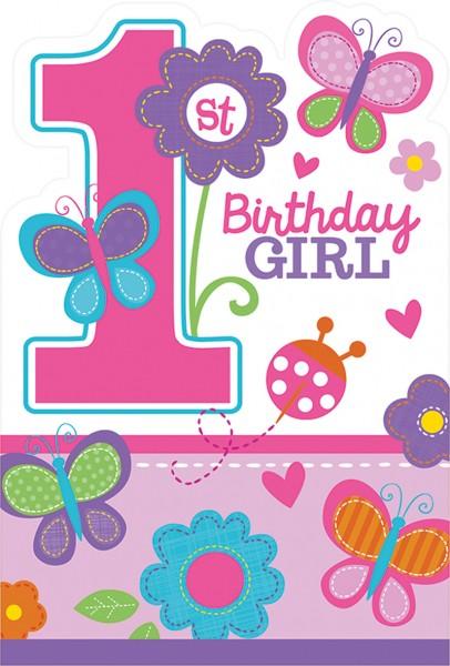 1.Geburtstag Sweet Birthday Girl Einladungskarte Mit Schmetterlingen