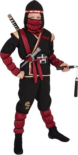 Fighting ninja black red child costume
