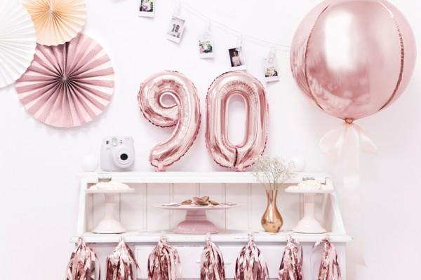 Ballon numéro métallique 9 or rose 35cm