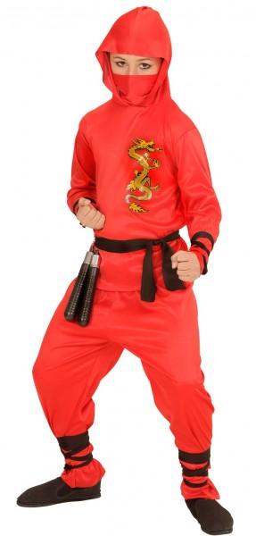 Ninja fighter child costume in red