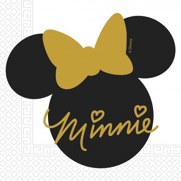 20 Minnie Mouse Goldstar Servietten 33cm