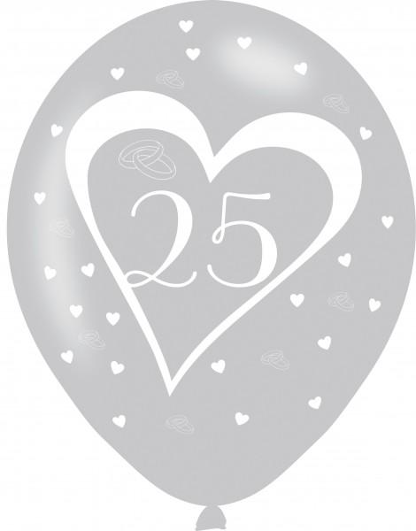 6 Lovely 25th Anniversary latex balloons