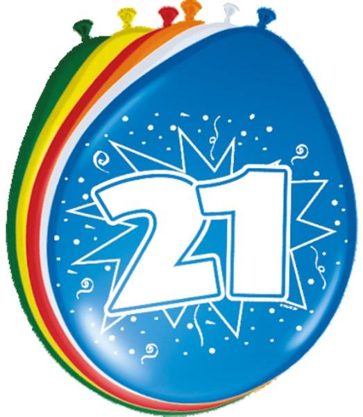 Palloncini colorati in lattice 21 ° compleanno 8 pezzi.