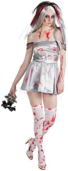 Bloodied Zombie Bride Costume With Velo