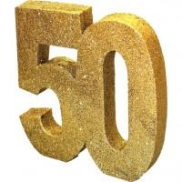 Goldene Zahl 50 Tischdeko glitzernd 20cm