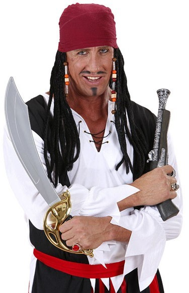 Piratenkapitän Herrenperücke mit Bandana