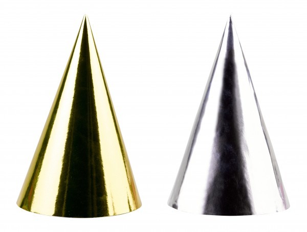 4 Golden Wishes party hats 17cm