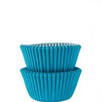100 Karibikblaue Mini Muffinförmchen 3cm