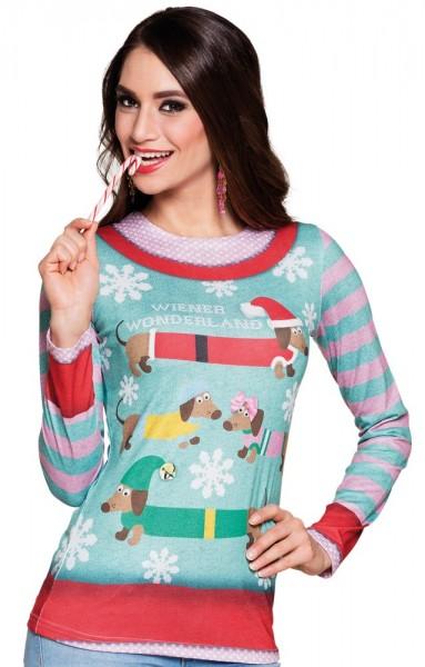 Camisa de Navidad Wiener Wonderland Dachshund para mujer