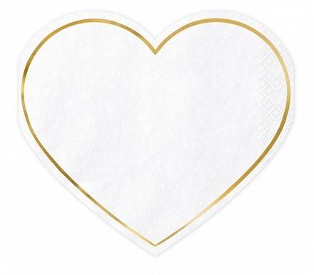20 serviettes cœur pour toujours à vous 14,5 x 12,5 cm