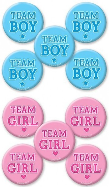 10 team buttons Gender Reveal 4.5cm