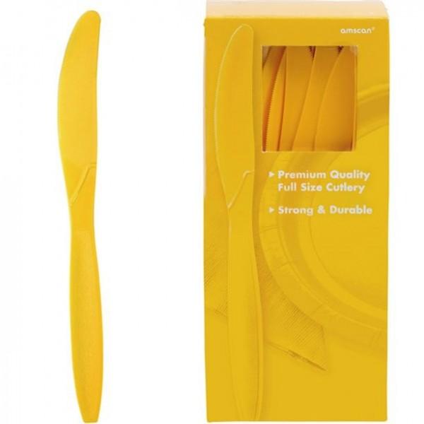 100 plastikowych noży żółtych