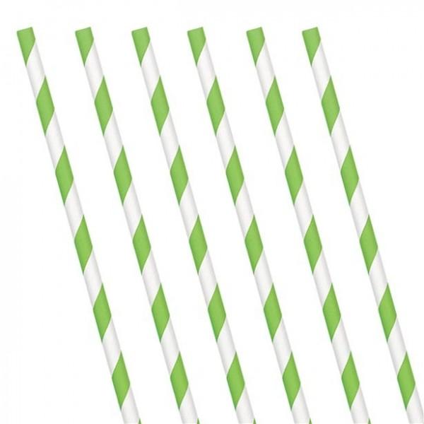 24 Grün gestreifte Papier Strohhalme 19cm