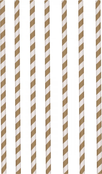 12 brown striped paper straws