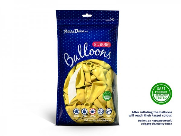 50 party star balloons lemon yellow 27cm