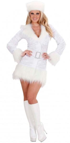 Biała mini sukienka z obszyciem ze sztucznego futra