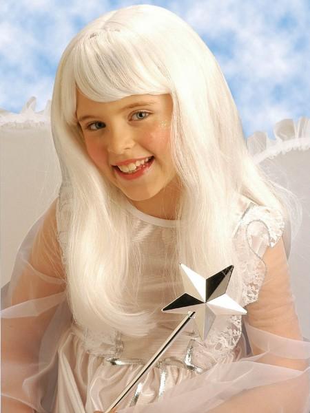 Peluca de cabello de ángel blanca para niños