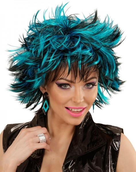 Peluca años 80 Stacy negro azul