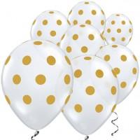 25 Goldpünktchen Luftballons 28cm