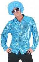 Blaues Partyfieber Paillettenhemd