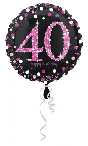 Pink 40th Birthday foil balloon 43cm