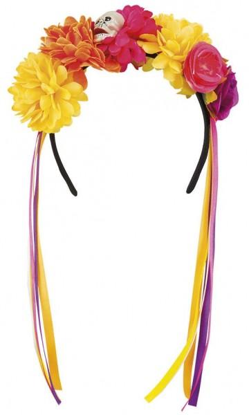 Bandeau tête de mort fleur colorée