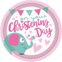 8 Christening Day Pappteller rosa 23cm