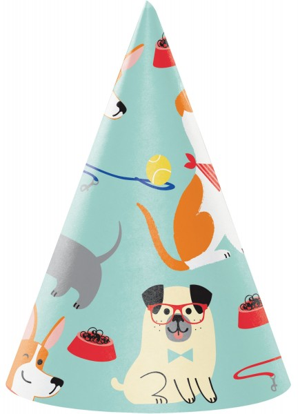 8 dogs party hats