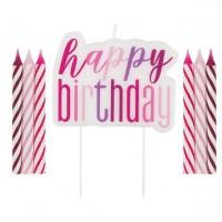 Geburtstags-Tortenkerzen-Set 5-teilig pink