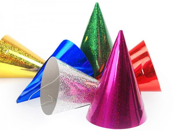 120 holographic party hats 17cm
