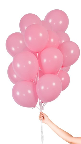 30 palloncini rosa con nastro 23cm