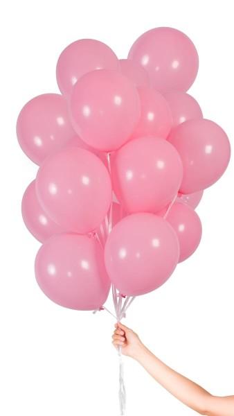 30 ballons roses avec ruban 23cm