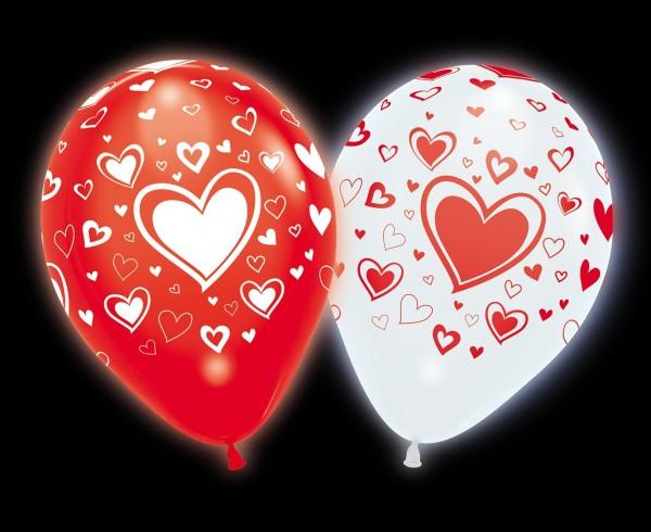 4 palloncini a LED bianchi rossi foglia cuore luminosa 23 cm