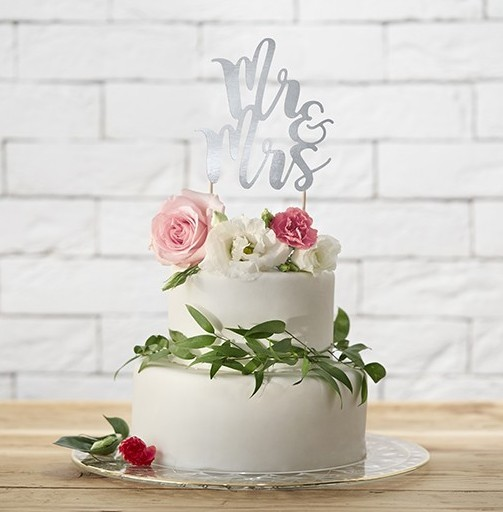 Cake decoration Mr & Mrs silver 25.5cm