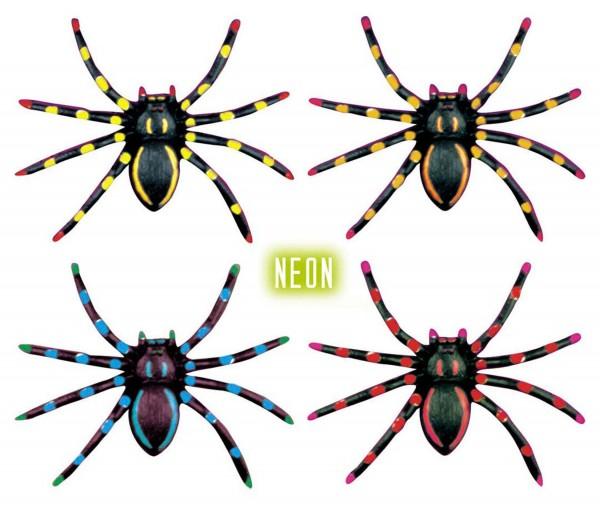 4 étoiles colorées de toile d'araignée néon