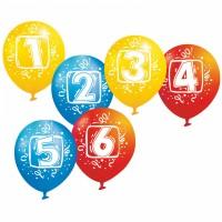 6er Set Luftballons Zahlen 1 Bis 6
